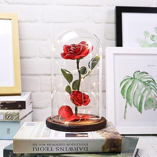 Wooden Glass Dome with Base Flower Vase Ornament LED Lights Holder/_Black A