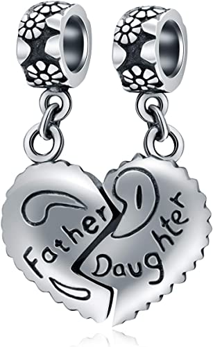 Amazon Com Choruslove Father Daughter Heart Charms Fit Pandora Bracelet 925 Sterling Silver Family Charm Dangle Piece Of My Heart Bead Gifts For Dad Christmas Birthday Arts Crafts Sewing