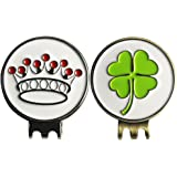 Beautiful Clover Crown Golf Ball Markers with Magnetic Hat Clips by PINMEI