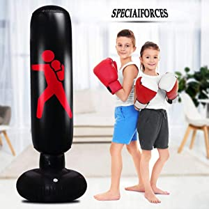 SPECIAIFORCES Blow Up Kids Punching Bag - Practice Karate/Taekwondo/Jiu-Jitsu Punches and Kicks Inflatable Punching Bag for Home Gym - Get Energy/Aggression Out & a Present for Child