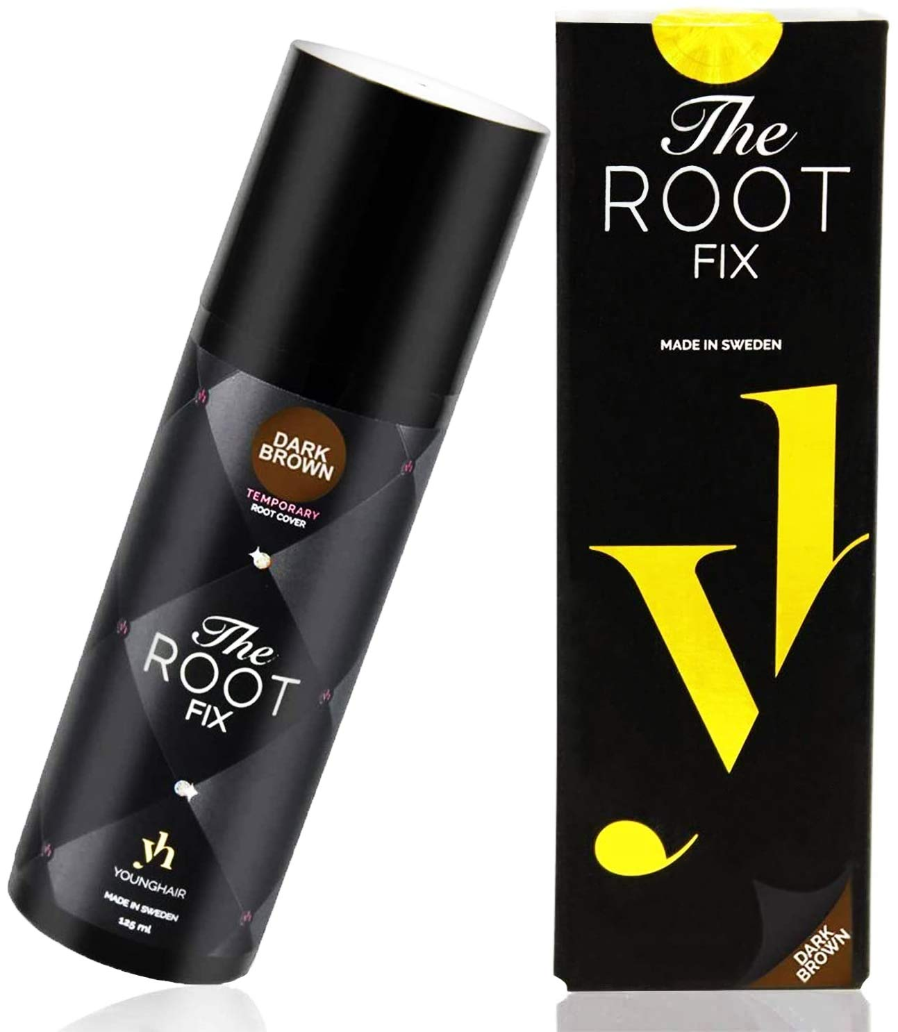 YoungHair The Root Fix Hair-Root-Dye-Touch-Up Temporary Dark-Brown 125 ml