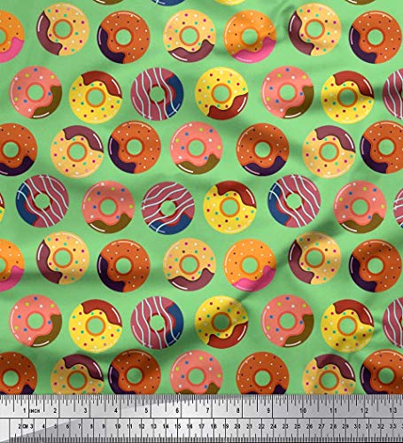 Cotton Voile Green - Soimoi Green Cotton Voile Fabric Donuts Food Print Sewing Fabric BTY 42 Inch Wide