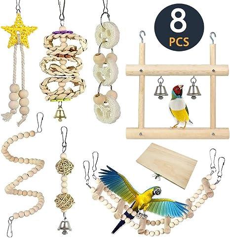Natural Palm Picking Swing Bird Toy