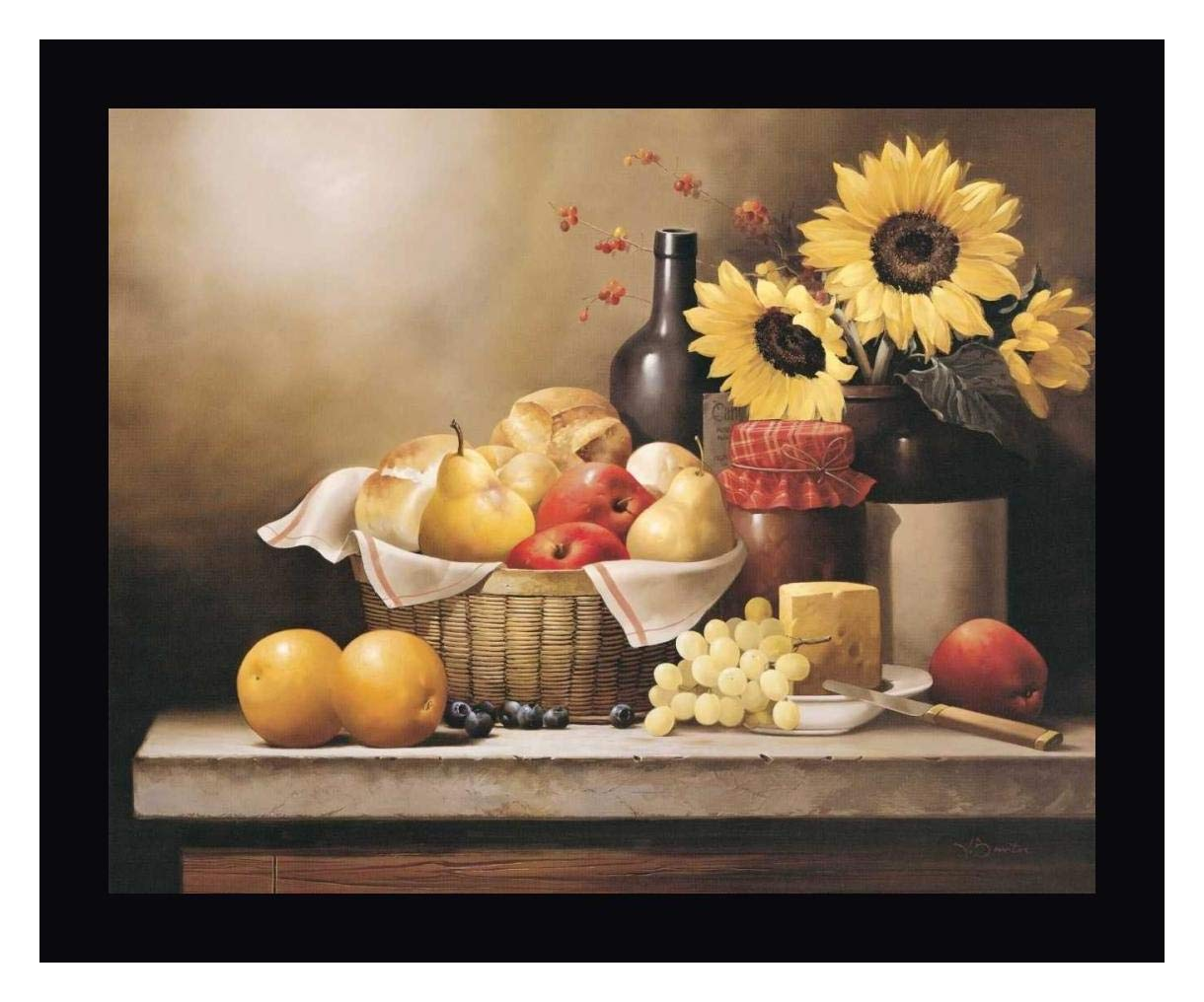 """On The Kitchen Table by Victor Santos - 19"""" x 23"""" Black Framed Giclee Canvas Art Print - Ready to Hang"""