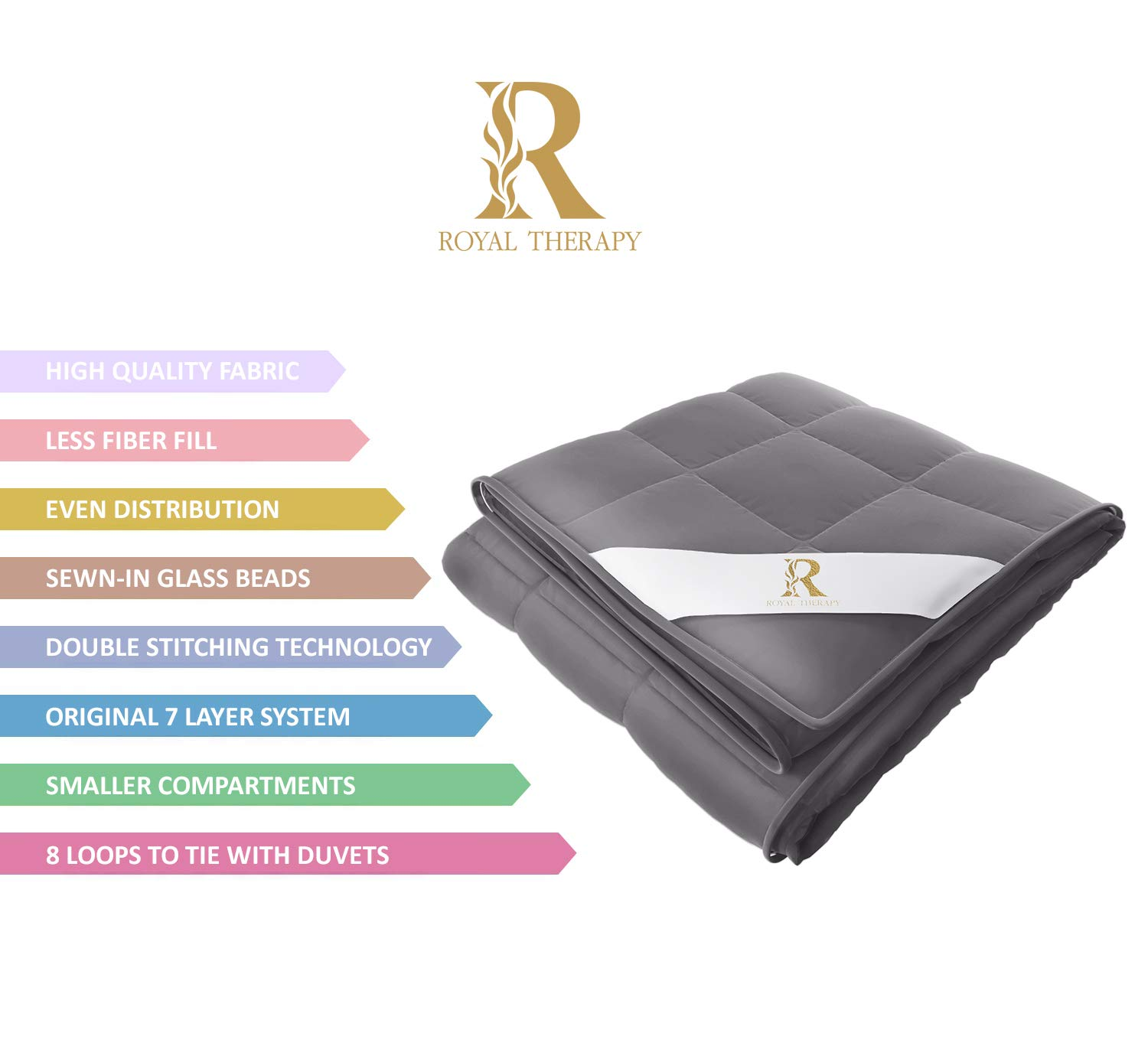 Royal Therapy Weighted Blanket Kids Bed (10 lbs for Kids, 41''x60'') 100% Calming Cotton Blanket with Glass Beads by Royal Therapy (Image #3)