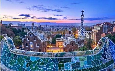 ZZXSY Puzzle Adulto 1000 Piezas Parque Güell En Barcelona España Al Amanecer con Arquitectura Gaudí Adecuado para Regalos De Año Nuevo: Amazon.es: Hogar