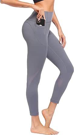 COOrun Sportlegging voor dames, met zakken, hoge taille, ondoorzichtig, yogabroek, tummy controle, fitnessbroek met mesh-inzetstukken