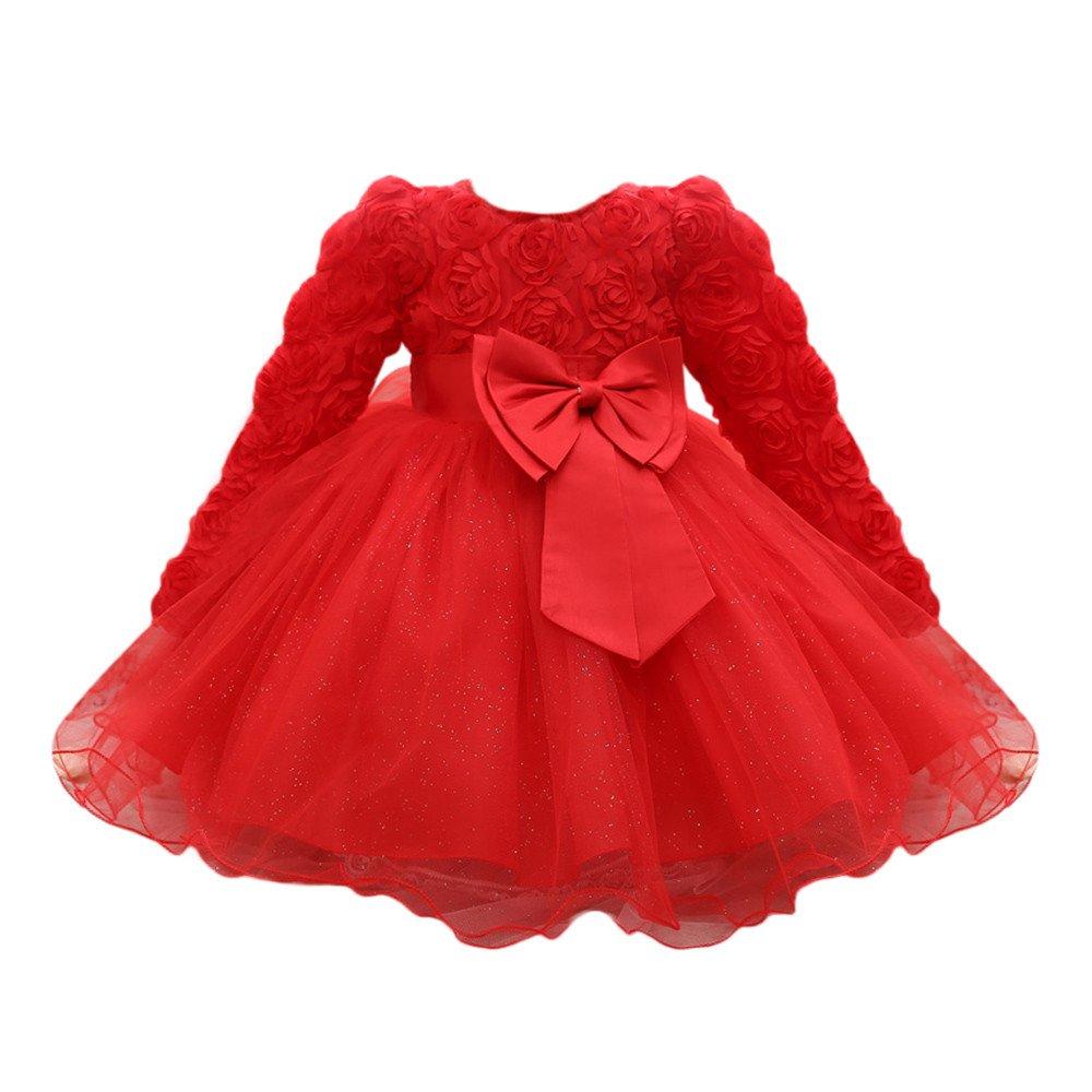 Zycshang Newborn Infant Baby Boy Girl Long Sleeve Bow Lace Flower Dress Mesh Tutu Dress Dress Comfortable Soft Romper Outfits Jumpsuit Clothing Sets Children'S Suit