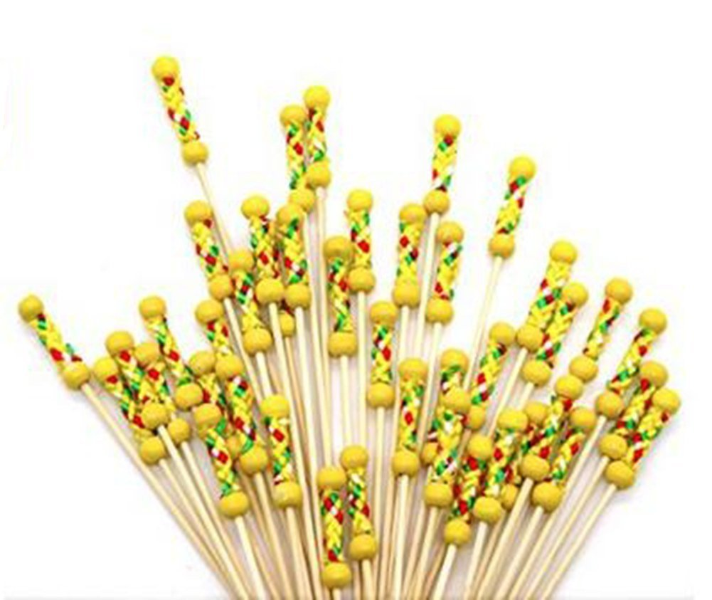 Hosaire Cocktail Picks 100 Counts Handmade Bamaboo Cute Cocktail Sticks Sandwich Fruit Toothpicks Cocktail Picks Party Supplies 4.7 Inches Yellow