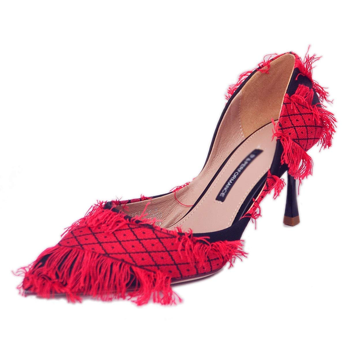 GTVERNH Womens Shoes//Fringed Pointed 7Cm High Heel Shoes Thin Heel Side Empty Womens Shoes Banquet Shoes Fashion.