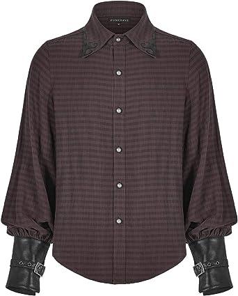 Punk Rave WY-1168 - Camisa de pirata estilo steampunk para hombre, diseño de rayas marrones y negros de piel sintética gótica victoriana ototensa vintage: Amazon.es: Ropa y accesorios