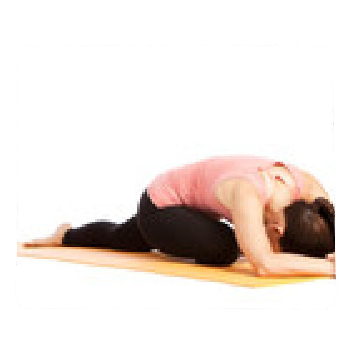 alfombrilla de ratón Los ejercicios de yoga contra un fondo ...