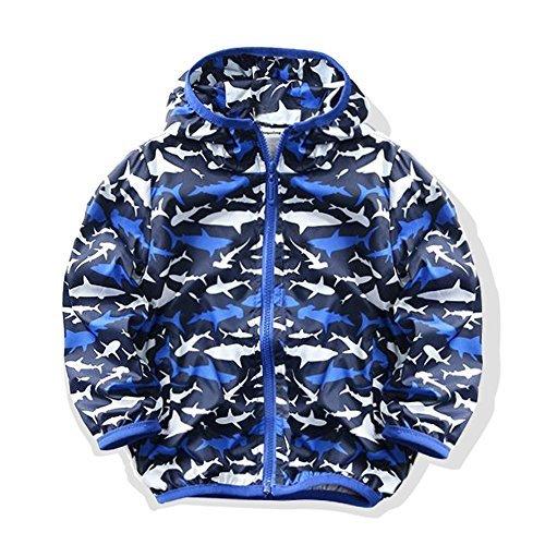 Kids Shark Hoodie (M2C Boys Shark Print Outwear Hooded Waterproof Lightweight Jacket 6T Blue)
