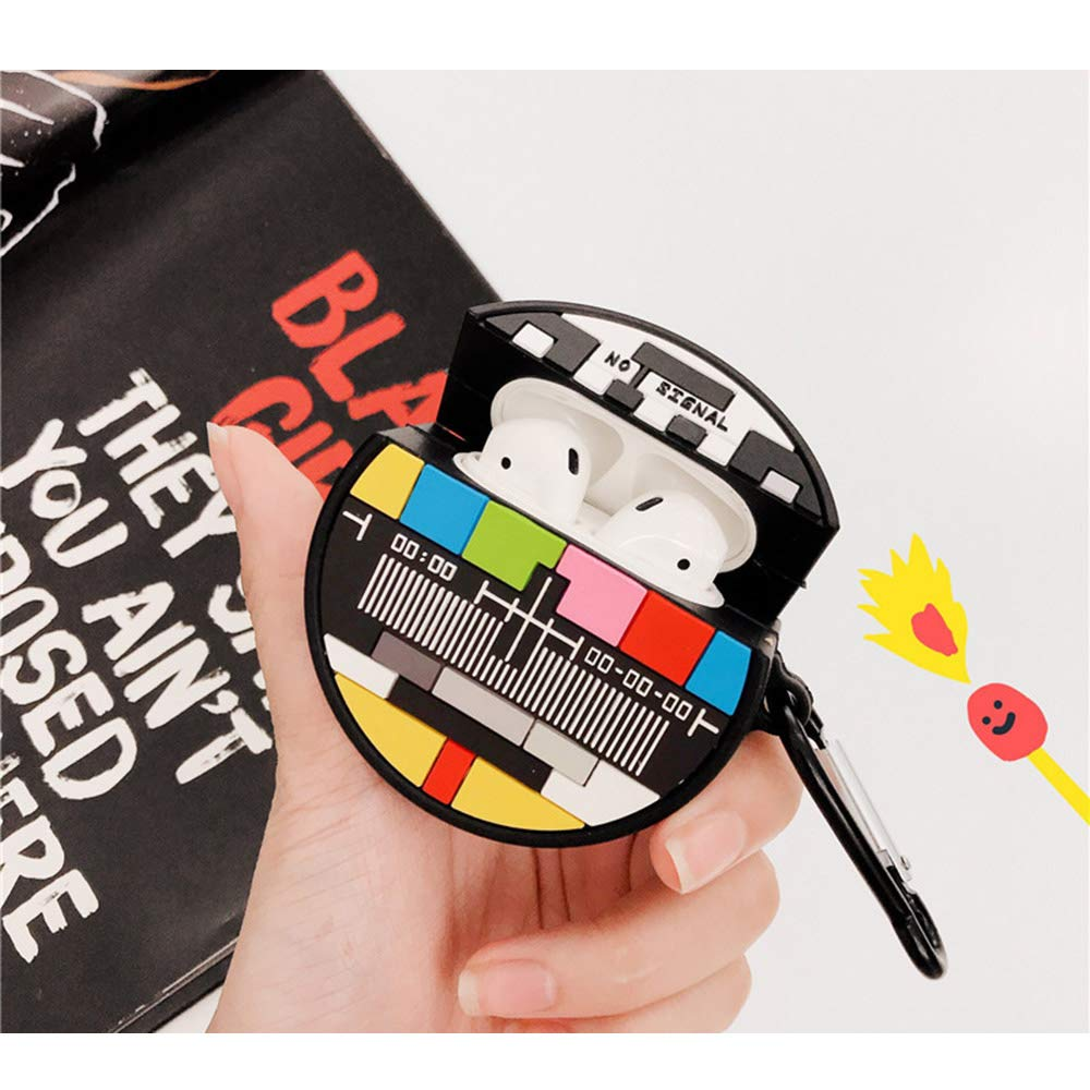 ویکالا · خرید  اصل اورجینال · خرید از آمازون · ONGHSD for Airpods Silicone Case Cover Cute 3D Creative Television Channel TV No Signal Protective Cover Compatible for Apple Airpods 1 & 2 with Finger Ring Anti-Scratch Case Cover wekala · ویکالا