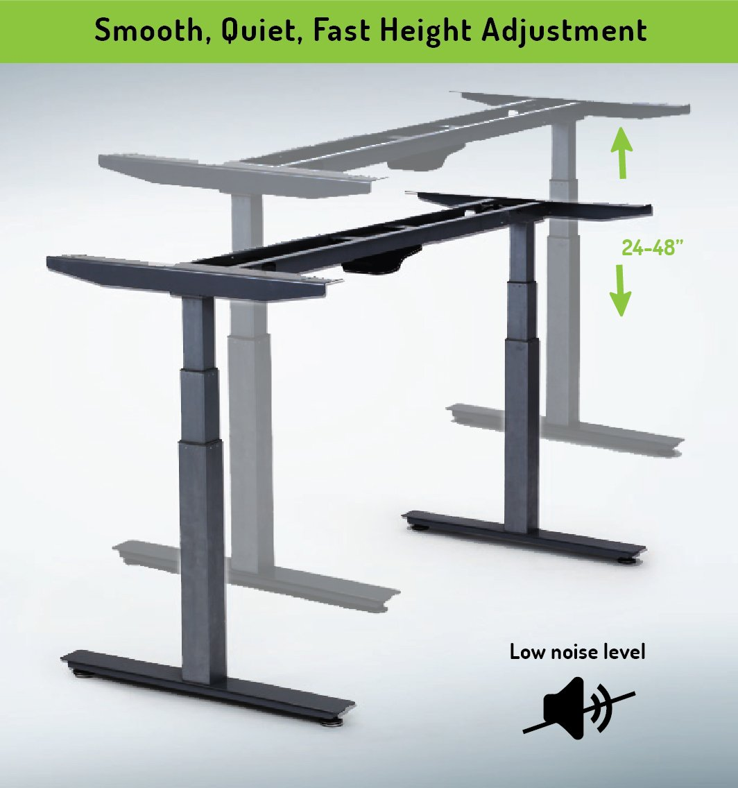 RISE UP Electric Adjustable Height Width Standing Desk Legs Frame Base. Ergonomic motorized sit to stand up home commercial office table. Dual 2 Motors. 4 Programmable Memory. Black