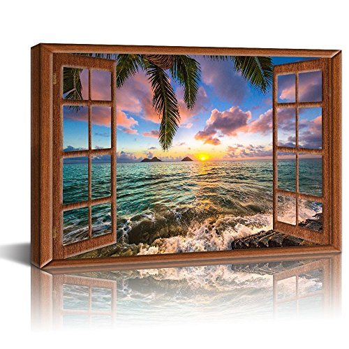 Live Art Decor Canvas Prints Wall Art Vintage Window Frame Style Beautiful Lanikai Beach Hawaii Sunrise Picture Artwork Gallery Wrap Ready to Hang Modern Home Decor -24 x 36