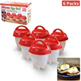 Egg Cooker As Seen on TV, Non Stick Silicone Egg Boiler, Hard Boiled Eggs without the Shell(6 packs)
