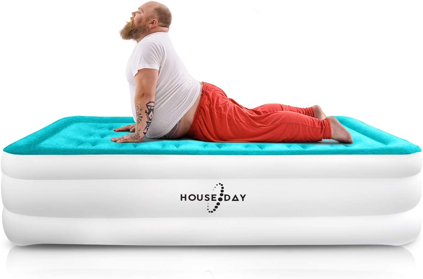 """HOUSEDAY Twin Air Mattress with Built- Raised Electric Airbed with Built in Pump Fast Inflation Carry Bag Highest End Blow Up Bed, Inflatable Air Mattresses for Home Travel Twin Matress 74""""x39""""x18"""""""