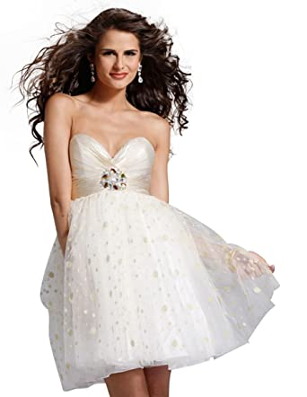 Clarisse Sweetheart Baby Doll Prom Dress 1321, White, 4 at Amazon ...