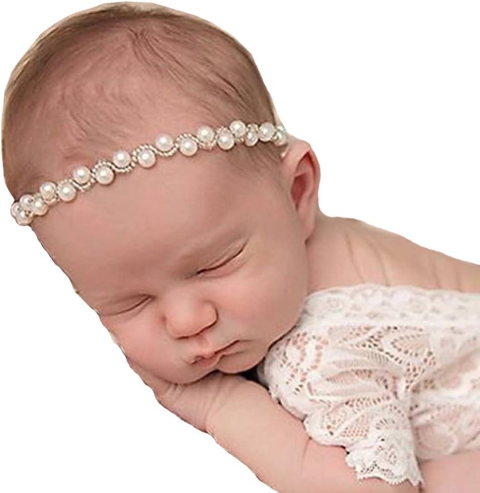 RQJ Baby Soft Rhinestone Elastic Headband Props Infant Pearl Headwrap Handcraft Halo Beaded Crystal Pearl Wreath with Diamante Flower Crown for Newborn