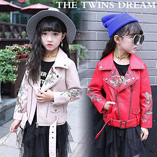 d83c8043c The Twins Dream Girls Leather Jacket Kids Leather Jackets Boys Motorcycle  Jacket Girls Coat Pink