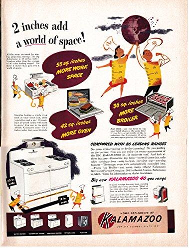 1949 Kalamazoo Oven-Gas Range-Broiler-Original 13.5 * 10.5 Magazine Ad-More Room