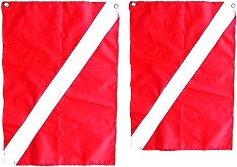 Sharplace 2 Piezas de Banderas de Señal Seguridad Accesorios para Barcos Buceo Kayak Canoa de Color Rojo: Amazon.es: Deportes y aire libre