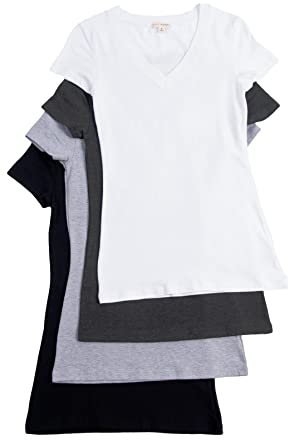 fef12fa96 Amazon.com: 4 Pack Zenana Women's Basic V-Neck T-Shirts Med White ...