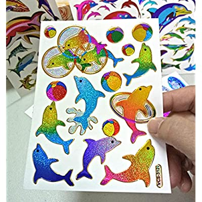 Fish003-6 Sheets Dolphin Stickers Self-adhesive Glitter Metallic Foil Reflective Decorative Scrapbook for Kids - Size 4 X 5.25 Inch./sheet.: Everything Else