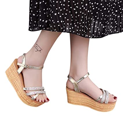 Amazon.com: Womens Bohemia Wedges Sandals,Sharemen Ankle Strap Sandals Wedges Rhinestone Platform Open Toe Sandals: Clothing