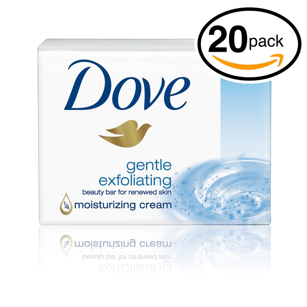 (PACK OF 20 BARS) Dove Beauty Soap Bar: GENTLE EXFOLIATING. Removes Dead Skin & Leaves You with a Fresh Radiant Glow! 25% MOISTURIZING LOTION! Great for Hands, Face & Body! (20 Bars, 3.5oz Each Bar)