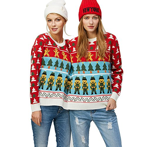 CharMma Crew Neck Long Sleeve Two Person Knit Pullover Ugly Christmas Sweater (COLORMIX 3, One Size) by CharMma