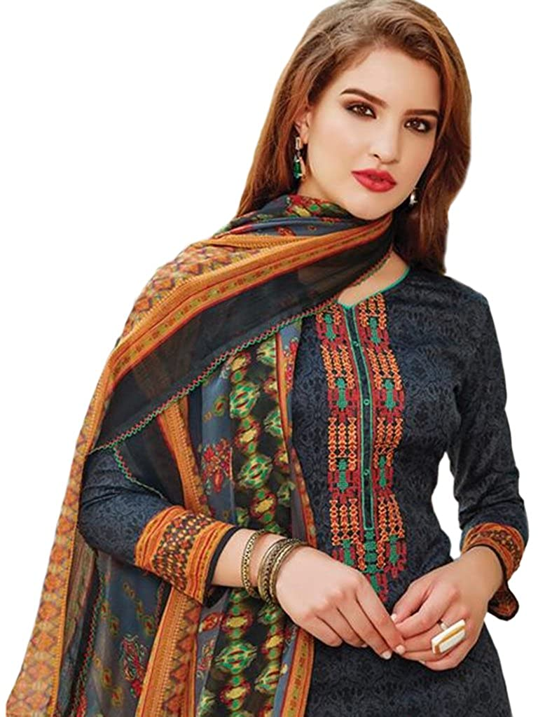 59aa8328db Pure Lawn Cotton Designer Pakistani Style Printed Suits With Exclusive  Superfine Neckline Embroidery, Printed Bottom And Dupatta With Lace. (DARK  GREY ...