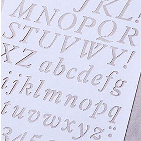 Everyday Stencil con lettere dell/'alfabeto e numeri #2 per disegni plastica scrapbooking e creazione di biglietti Approx. 20.7cm x 30.7cm