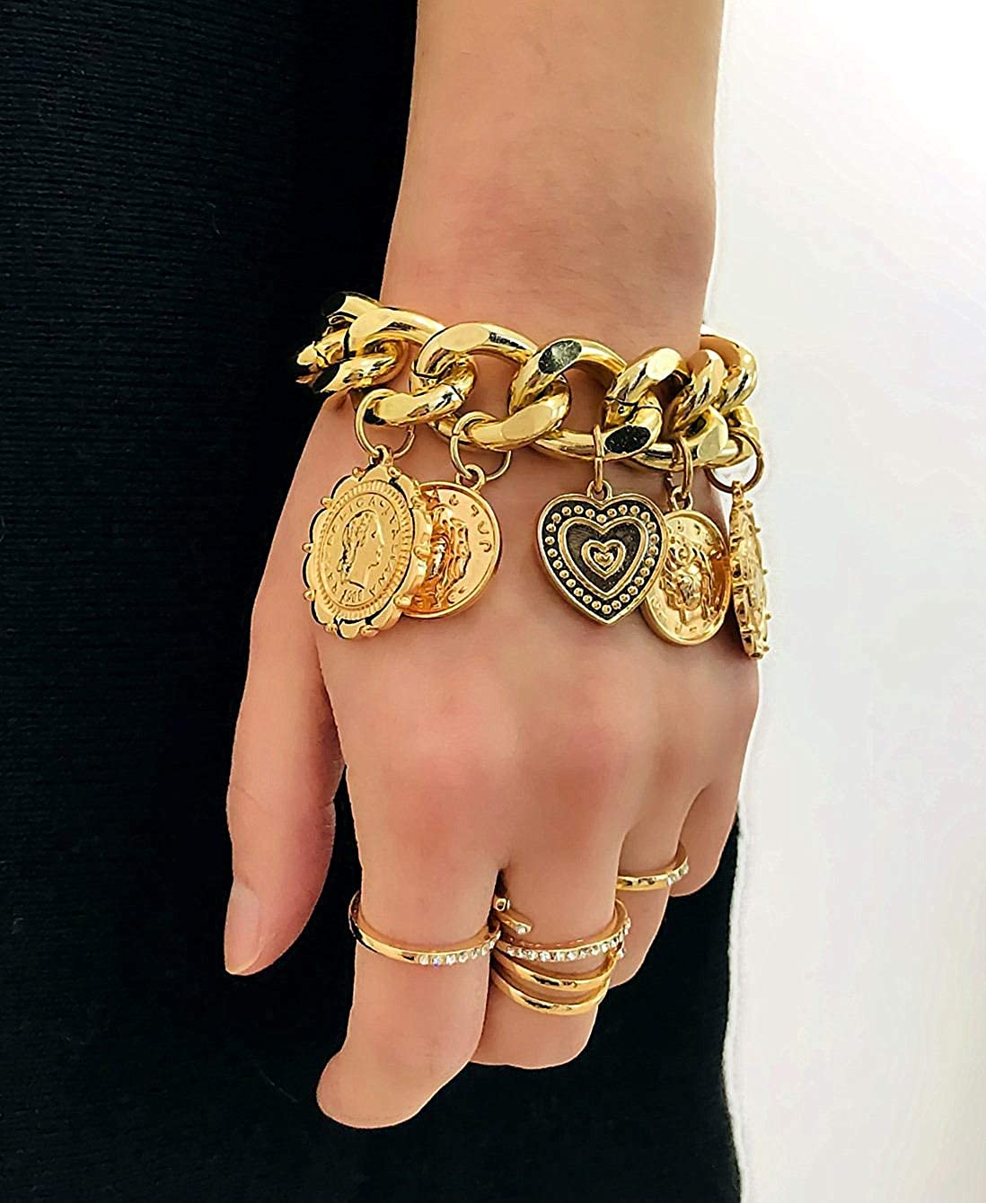 Layered Stackable Open Cuff Bangle Bracelets Set for Women Teen Girls Gift Y/&M Religious Link Bracelet