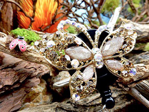 Butterfly Badge Holder Crystal Name Tag Clip Bling RN Retractable ID Reel Nurse Pinning Graduation Ceremony Gift Ideas for Mom Teacher Rhinestone Jewelry Unique Insect Bug Design Animal Accessory -