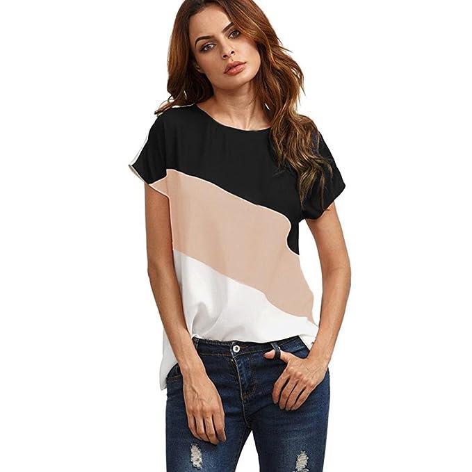 SUCES Damen Hemd Bluse Frühling Chiffonbluse Frauen Patchwork Blusentop Kurzarm  T-Shirt Oversize Freizeit Tops 0456a917b9
