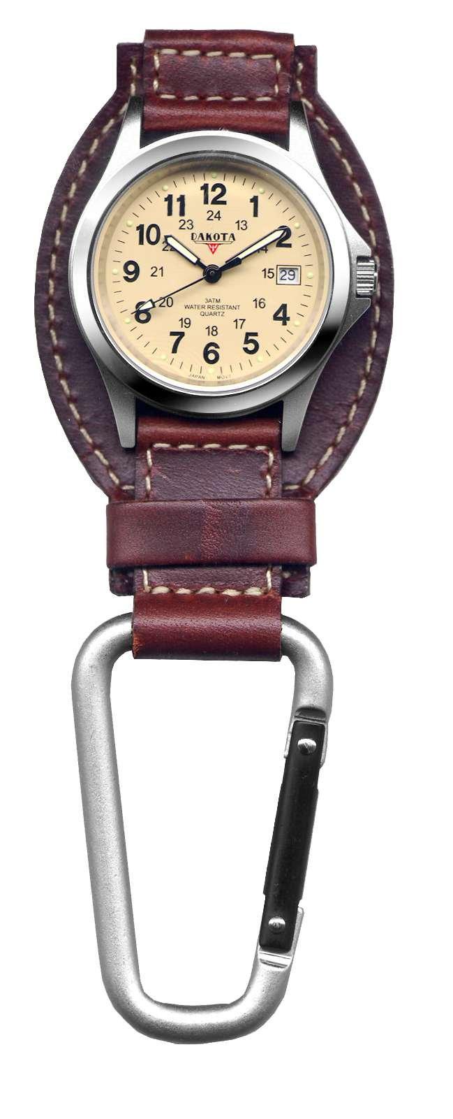 Dakota Brown Leather Field Clip Watch by Dakota