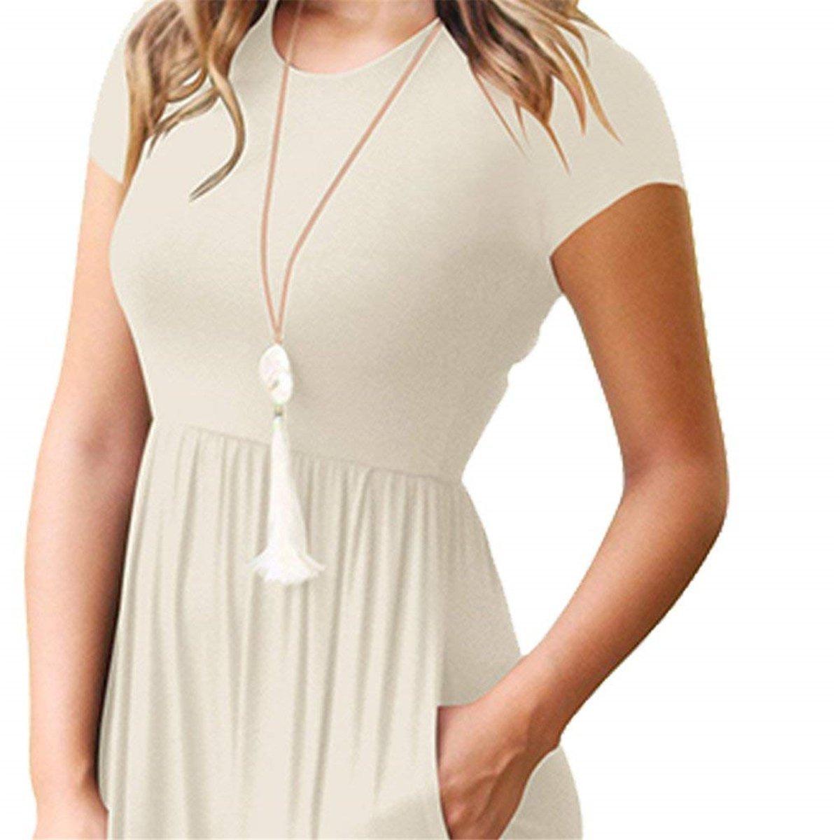 74827b3539d7 Maxi Kleidet - Damen Casual Hülsen-Lose Kurzarm ärmel Maxi beiläufige Lange  T-Shirt Kleider mit Taschen  Amazon.de  Bekleidung