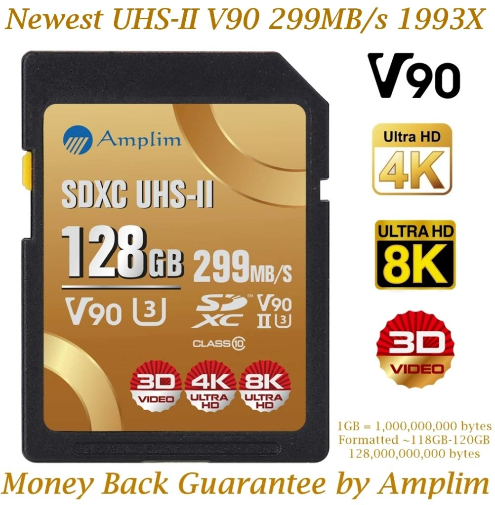 128GB V90 UHS-II SDXC SD Card - Amplim Blazing Fast 299MB/S (1993X) UHSII U3 C10 Extreme Speed 128 GB / 128G SD XC Memory Card. Professional 4K 8K Video Camera TF Flash Storage Card - New 2019 by Amplim