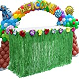 """Hawaiian Tropical Table Skirt,Marry Acting 29"""" x 108"""" Tiki Table Topper Grass Skirt With Multi-colored Floral Trim Garden Beach Picnic Summer Party Decoration (Green)"""