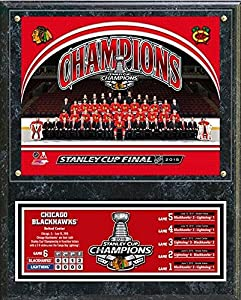"Chicago Blackhawks 2015 Stanley Cup Champions Plaque (Size: 12"" x 15"")"