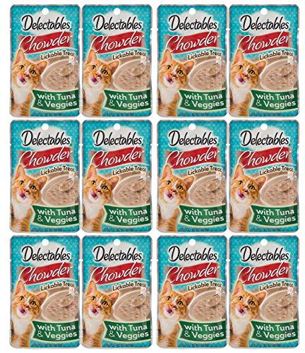 Delectables Chowder Lickable Wet Cat Treats - Tuna & Veggies - 12 Pack