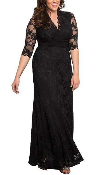 6128bb28e4f66 Dilanni Women s Plus Size Lace V-Neck Bridal Evening Party Long Dress