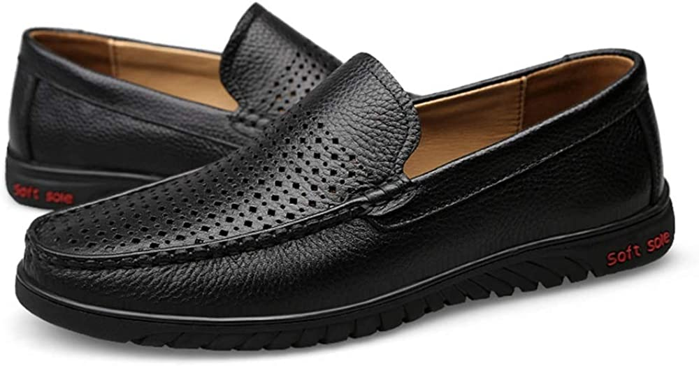 Mens Driving Loafers Slip-on Style Boat Shoes Handmade Perforated Leather Oxfords Lightweight