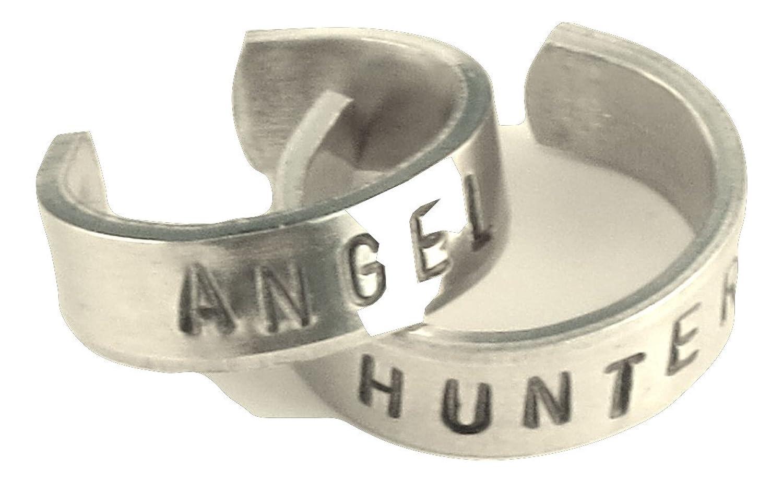 Supernatural Inspired - Angel & Hunter - A Set Pair of Hand Stamped Aluminum Rings