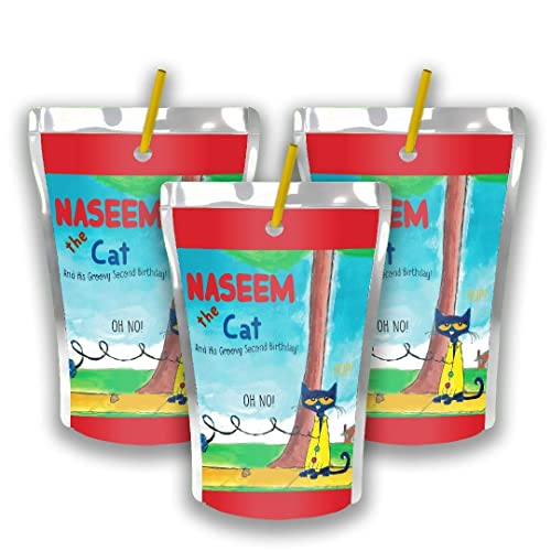 Amazon Com 12 Personalized Pete The Cat Birthday Party Juice Pouch