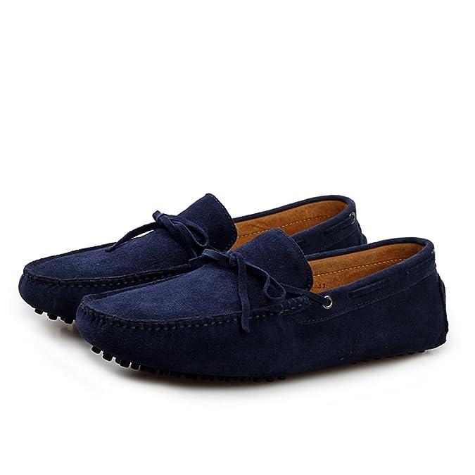 Minitoo La nueva conducción de ante borla de Hombres Loafers Penny zapatos de barco, color Verde, talla 42.5