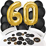 Adult 60th Birthday - Gold - Confetti and Balloon Birthday Party Decorations - Combo Kit