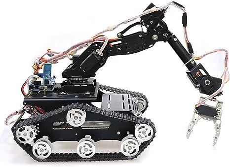 HARLT WiFi/Bluetooth/Control De Manija Kit De Robot Programable Móvil Brazo Pinza Robótica con Chasis De Tanque De Metal para Kit De Modelo De Robot RC DIY: Amazon.es: Deportes y aire libre
